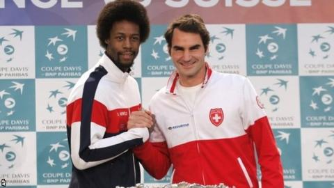 Gael Monfils and Roger Federer
