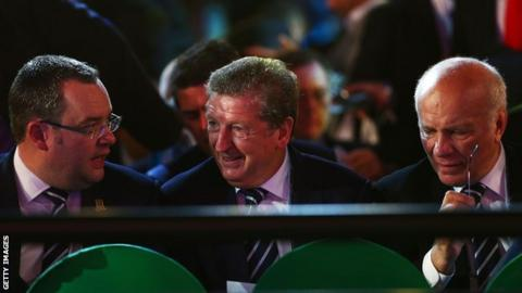 Alex Horne and Greg Dyke of the FA flank England boss Roy Hodgson