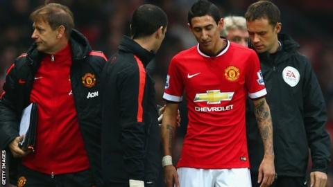 Manchester United's Angel Di Maria leaves the field at Old Trafford