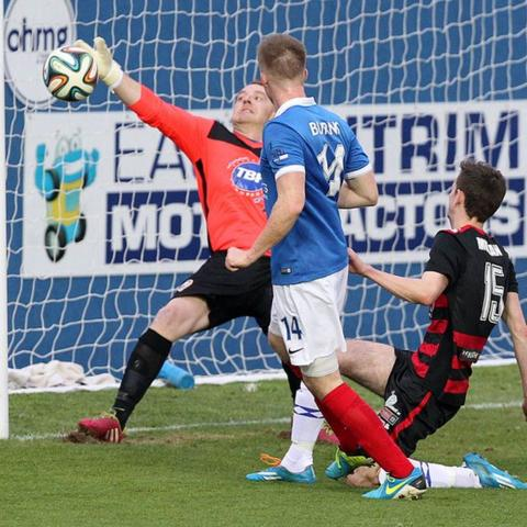 Aaron Burns scores the second goal in Linfield 2-1 win over Coleraine in the Irish Premiership