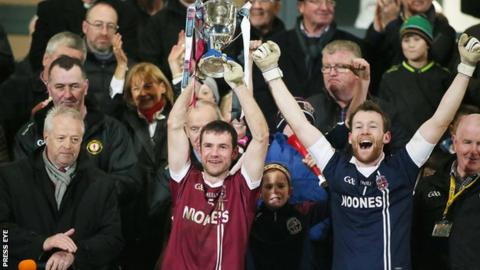 Slaughtneil captain Francis McEldowney lifted the club's first Ulster title