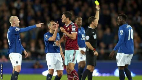 West Ham's James Tomkins surrounded by Everton players
