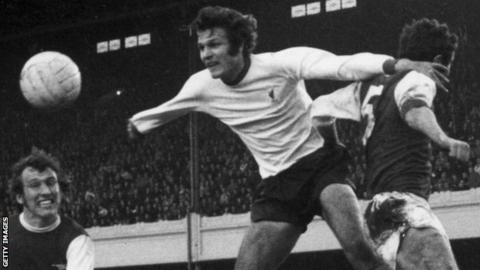 Liverpool's John Toshack heads the ball against Arsenal in 1970