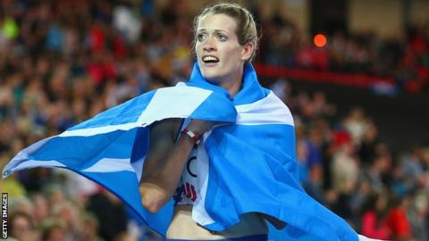 Eilidh Child was second in the 400m hurdles at Glasgow 2014