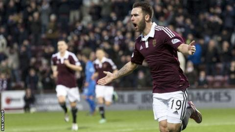James Keatings celebrates at Tynecastle
