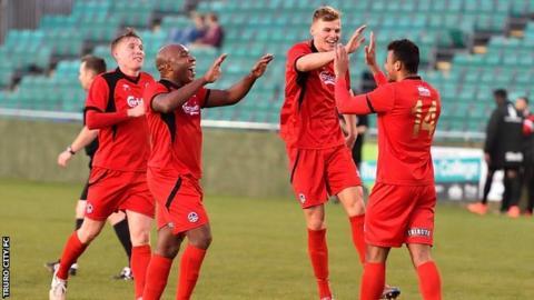 Truro City celebrate a goal against Hereford