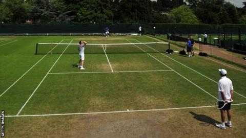 Andy Murray training at the Wimbledon practice courts