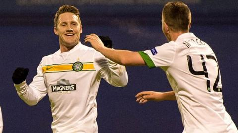 Kris Commons celebrates scoring against Dinamo Zagreb