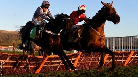 The New One ridden by jockey Sam Twiston-Davies (R