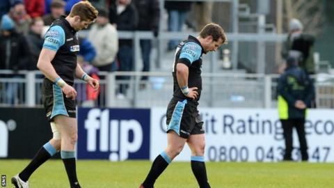 Glasgow Warriors players looking dejected