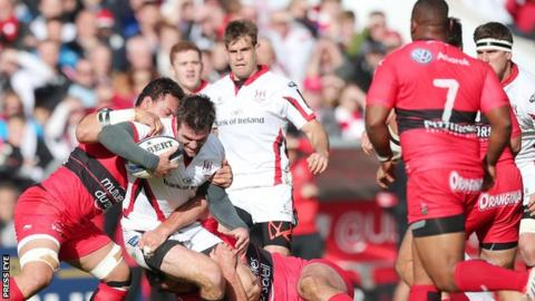 Ulster's Jared Payne is tackled in October's game against Toulon in Belfast