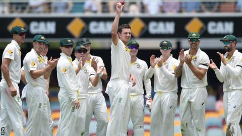 Josh Hazlewood acknowledges his five-wicket haul