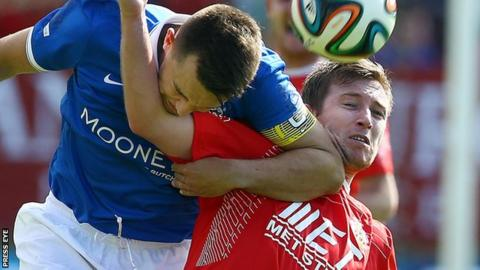 Action from Portadown against Linfield in August 2014
