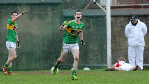 Watty Graham's celebrate Mark Doole's goal in extra time which made sure their 1-17 to 2-8 victory over Southern Gaels