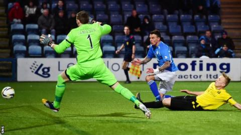 Derek Lyle scores for Queen of the South against Livingston