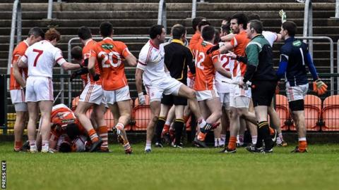 Ciaran McKeever and Colm Cavanagh were sent off following this first-half melee at the Athletic Grounds
