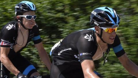 Geraint Thomas (L) and Richie Porte (R)