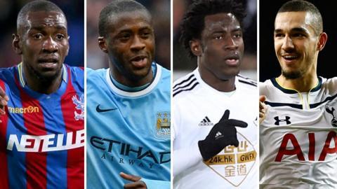 (left to right) Crystal Palace winger Yannick Bolasie, Manchester City midfielder Yaya Toure, Swansea striker Wifried Bony and Tottenham midfielder Nabil Bentaleb