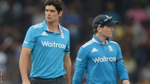 England captain Eoin Morgan (right) and predecessor Alastair Cook