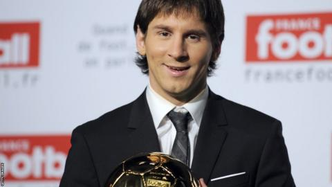 Lionel Messi wins the Fifa Ballon d'Or award for first time in December 2009