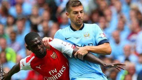 Matija Nastasic in action for Man City against Arsenal in the Community Shield in August 2014