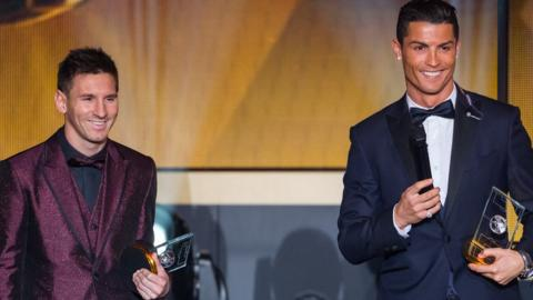 Lionel Messi and Cristiano Ronaldo at the Fifa Ballon d'Or Gala 2014 on 12 January 2015 in Zurich