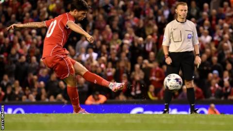Suso scores during the penalty shoot-out victory over Middlesbrough