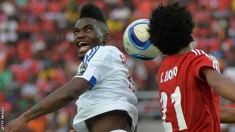 Thievy Bifouma (left) scored Congo's equaliser