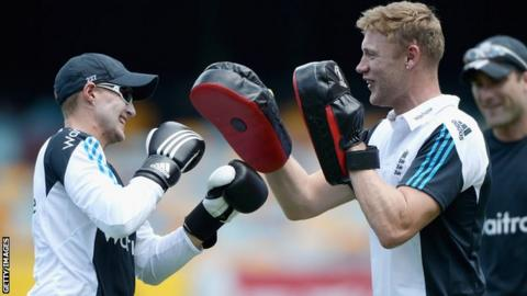 Joe Root (left) and former England all-rounder Andrew Flintoff during a training season