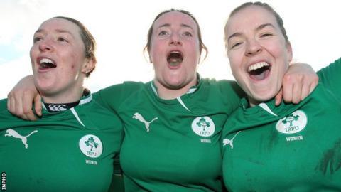 Ireland's Ailis Egan, Gillian Bourke and Niamh Briggs