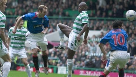 Fernando Ricksen scores against Celitc in a Scottish Cup tie