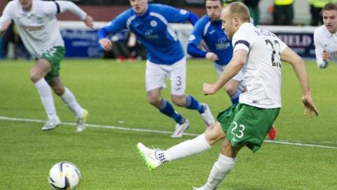 Dylan McGeouch scores for Hibernian against Queen of the South