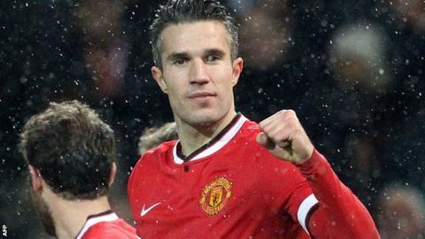 Manchester United forward Robin van Persie has scored eight Premier League goals this season