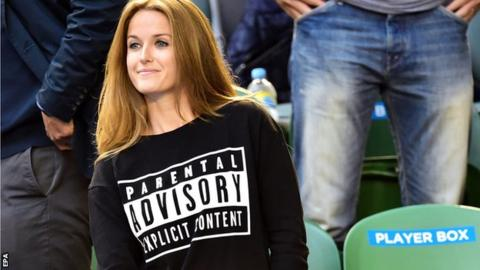 Kim Sears highlighted her sense of humour with a T-shirt at the Australian Open in Melbourne
