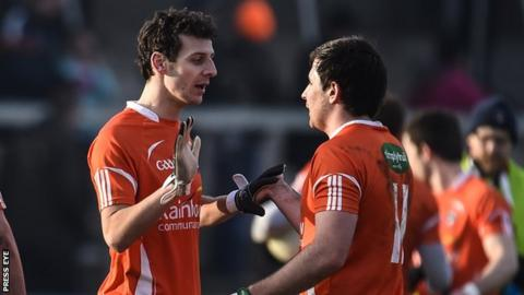 Jamie Clarke and Miceal McKenna show their relief after Armagh's win over Tipperary