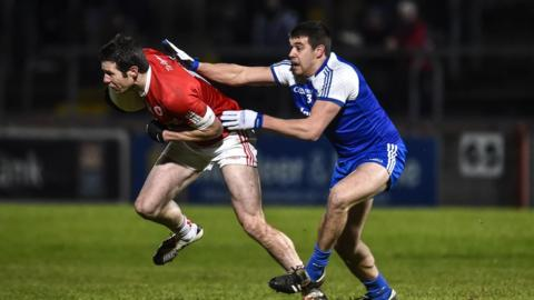 Sean Cavanagh and Drew Wylie battle for possession as Monaghan defeat Tyrone 1-13 to 0-09 in Division One