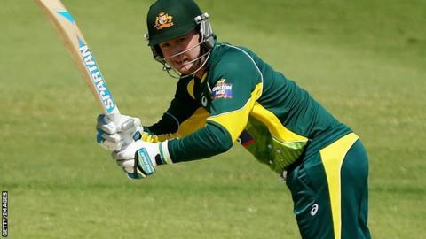 Michael Clarke batting for a Cricket Australia XI against Bangladesh in Brisbane