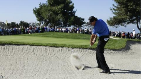 Phil Mickelson in round two at Torrey Pines