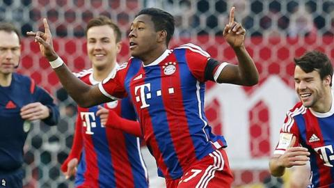 David Alaba scores a free-kick for Bayern Munich's second goal against Stuttgart