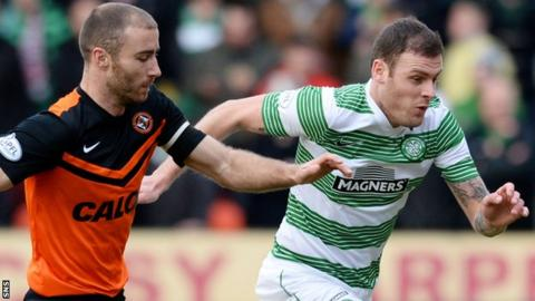 Dundee United's Sean Dillon and Celtic's Anthony Stokes