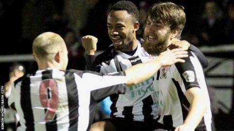 Bath City celebrate scoring against Dover