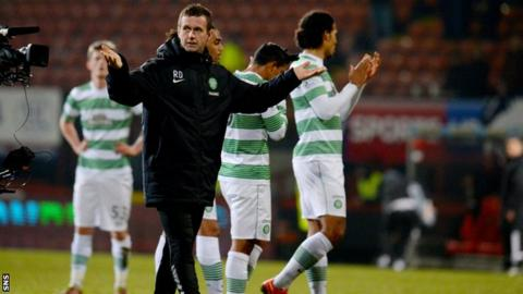 Ronny Deila led the celebrations after Celtic defeated Partick Thistle 3-0.