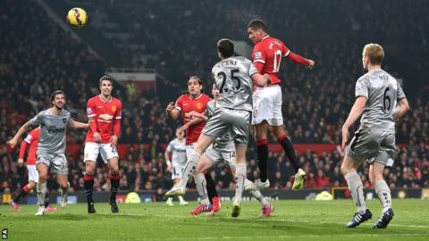 Chris Smalling scores Manchester United's second goal against Burnley
