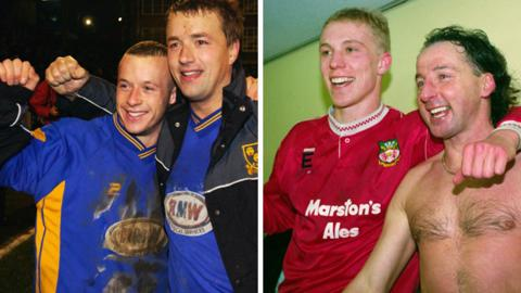Shrewsbury and Wrexham players celebrate famous giant-killings in 2003 and 1992 respectively