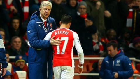 Arsenal's Arsene Wenger and Alexis Sanchez