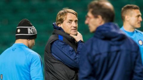 Roberto Mancini takes Inter training at Celtic Park