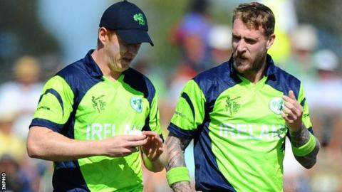 Kevin O'Brien and John Mooney during Ireland's win over the West Indies last Monday