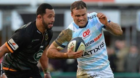 Jamie Roberts in action for Racing Metro