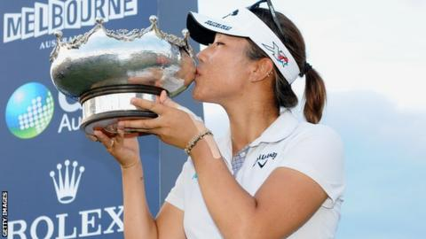 Lydia Ko celebrates winning the women's Australian Open golf tournament