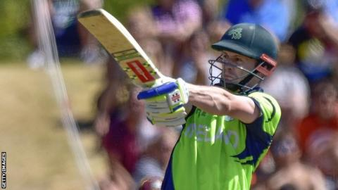William Porterfield plays a pull shot in Ireland's win over the West Indies last Monday